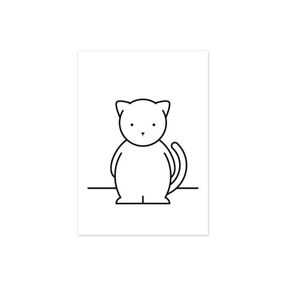 Chloe Cat Monochrome Nursery Art Print
