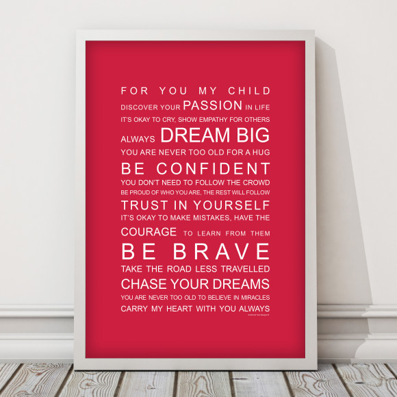 For You My Child Print in Red, with optional Australian-made white timber frame