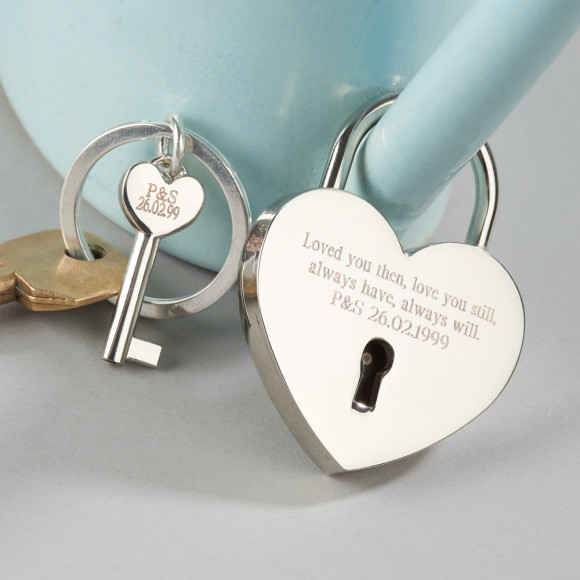 Personalised love lock and keyring by Suzy Q Designs