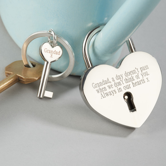 Silver plated personalised love lock and keyring