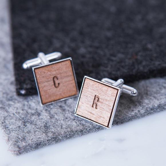 Square Initial Cufflinks