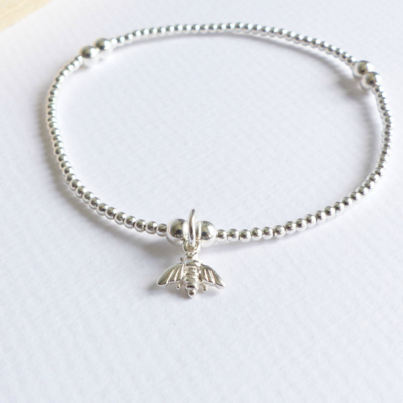 Sterling silver beaded tiny bumble bee bracelet