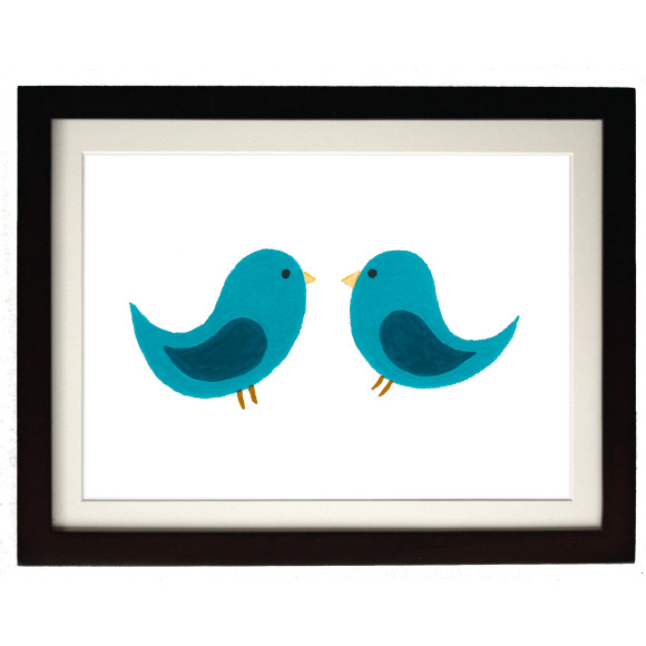 Twin teal birds mocha frame