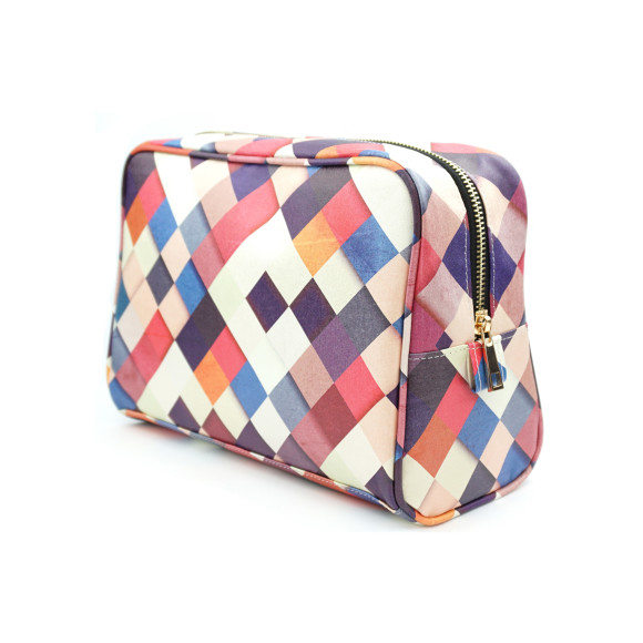 Colorful Checkered Vegan Leather Large Toiletry Wash Bag