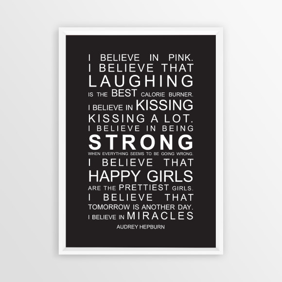 I Believe in Miracles Print in Black, with optional white timber frame