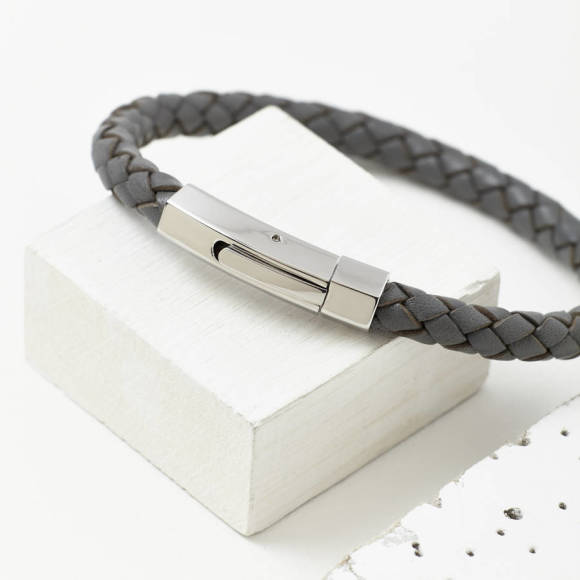 Mens plaited leather bracelet ggrey