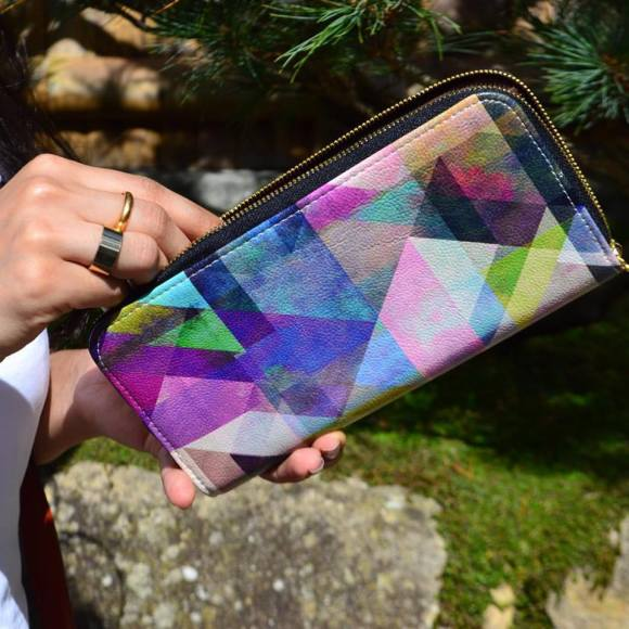 Color Blocking Geometric Vegan Leather Wallet Purse