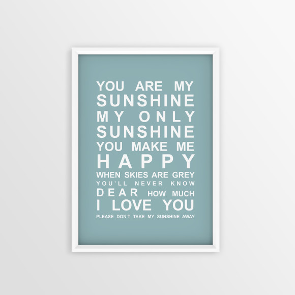 You are My Sunshine Bus Roll Print with optional white timber frame, in Duck Egg Blue