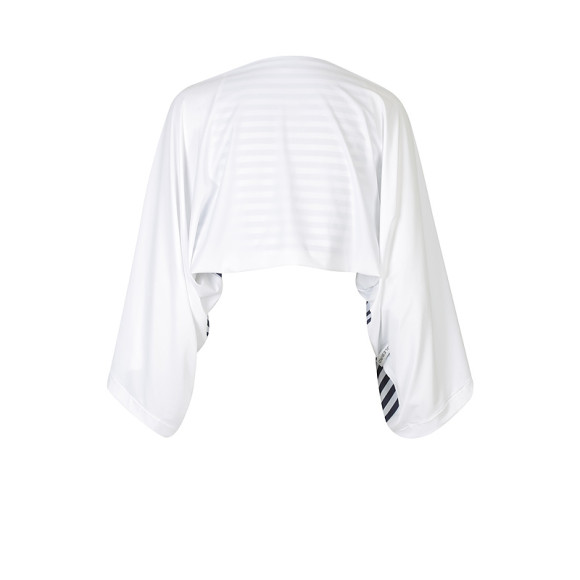 UPF50+ Sun Shrug - White with Navy/White stripes