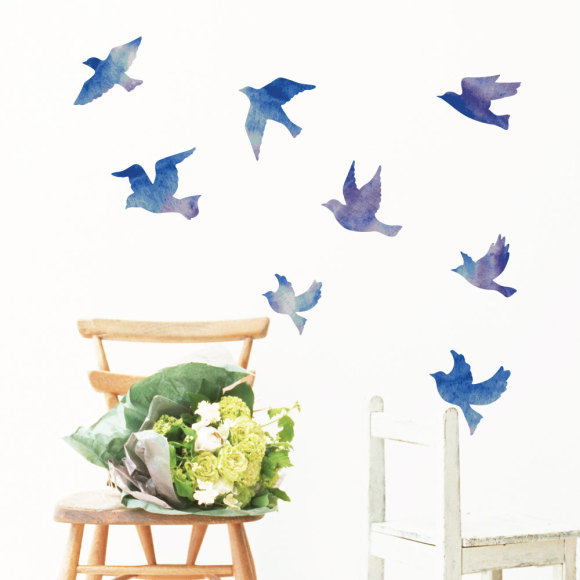 Watercolor flock of birds wall sticker