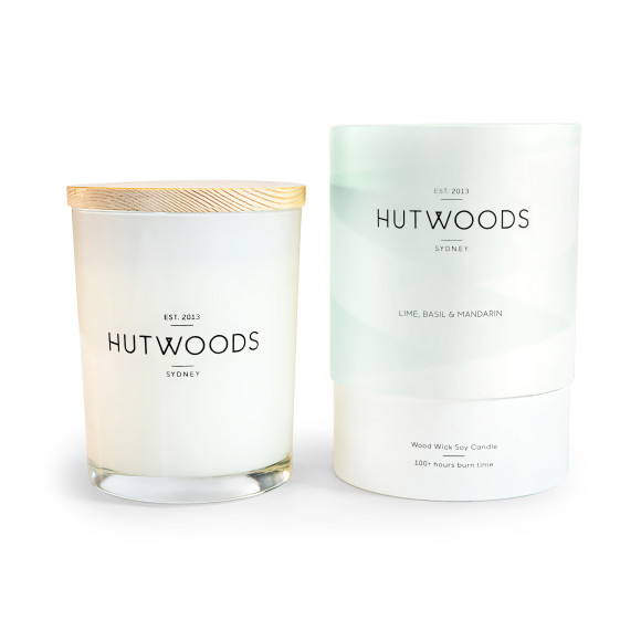 Lime, Basil & Mandarin Wood Wick Candle - 100 Hours Burn