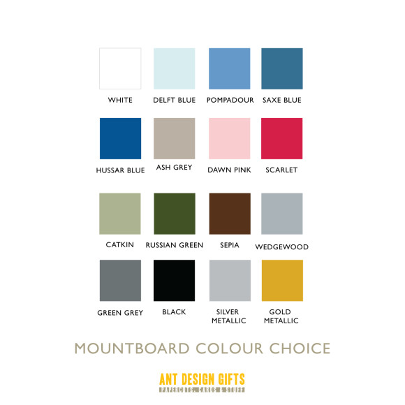 Background mount board colour chart for framed orders