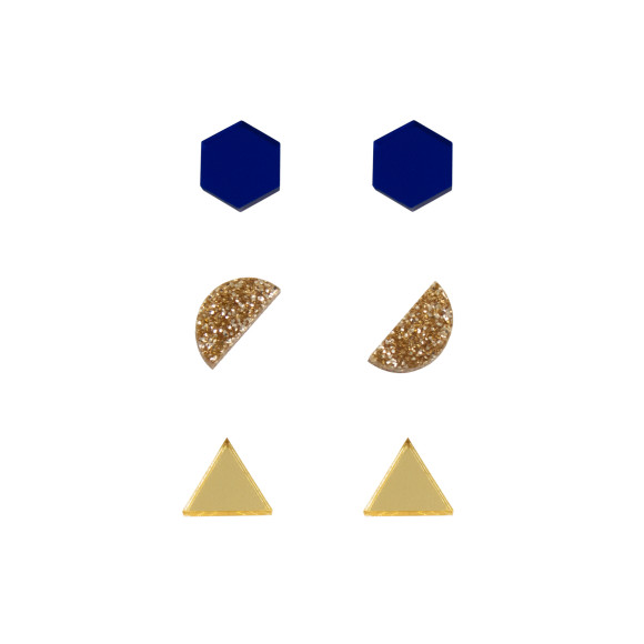 Dark Blue / Gold Glitter / Gold