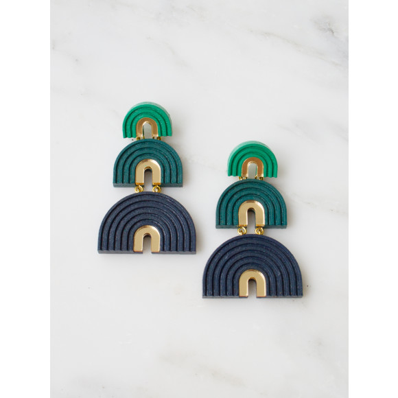 Three Arch Earrings - Forest Green
