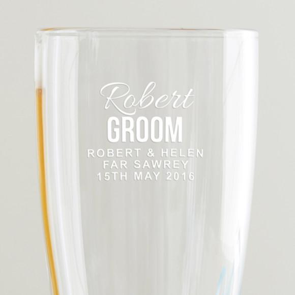 Personalised Groom Pint Glass