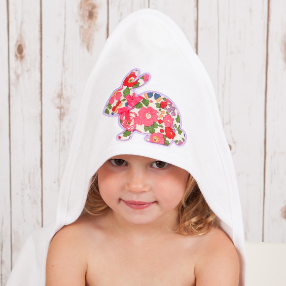 Hooded Baby Towel with Liberty Bunny