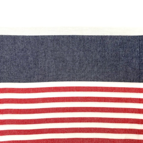 White and navy with red stripes
