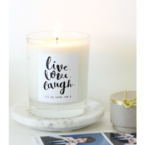 Personalised Live Love Laugh Scented Candle