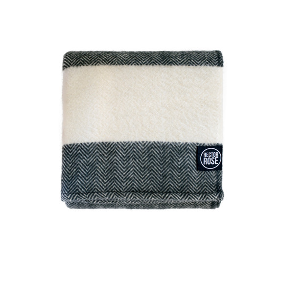 Hector Rose Hemmed Merino Wool Throw Rug in Charcoal & Natural