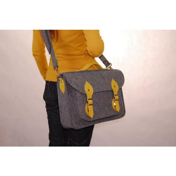 felt laptop bag, yellow leather