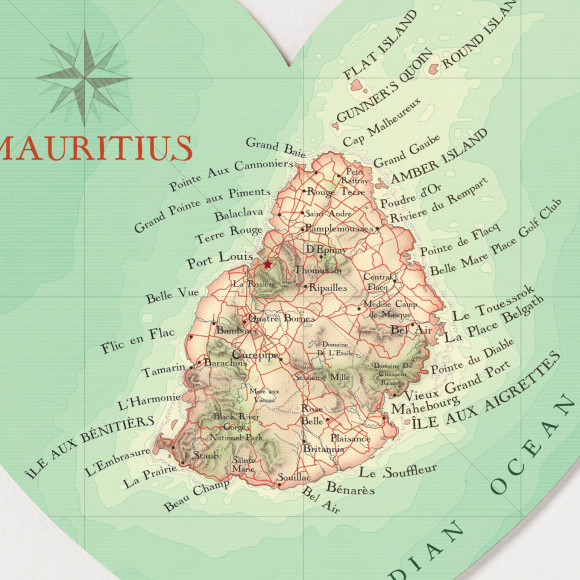 Mauritius map print