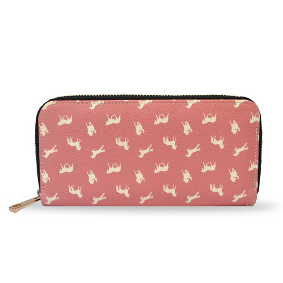 Pink Horse Print Vegan Leather Wallet Purse