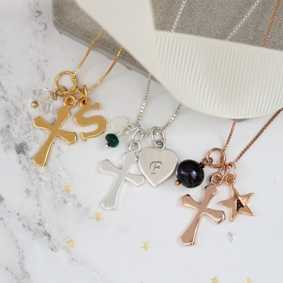personalised cross in sterling silver, rose gold or gold with april, may and june birthstones