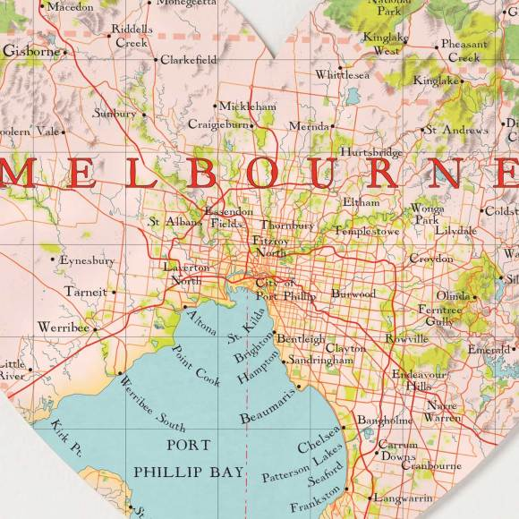 Melbourne map heart detail