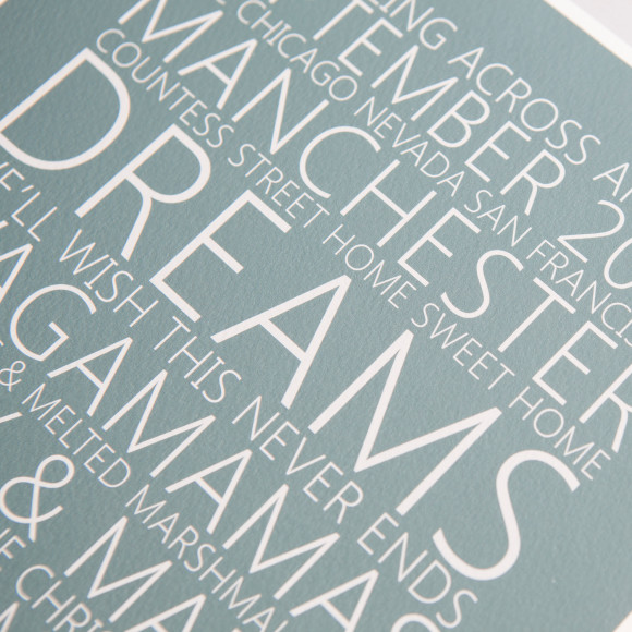 Memory Lane word art print detail