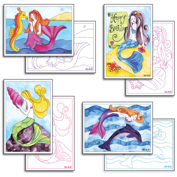 Mermaid Cards to Colour