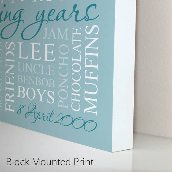block mounted print duck egg blue