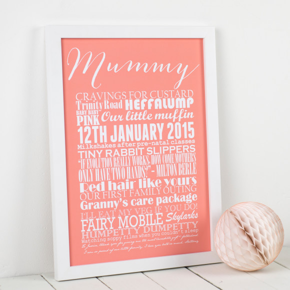 Medium Personalised Memories print - peach