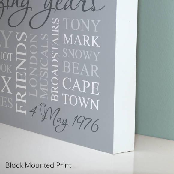 block mounted print - grey