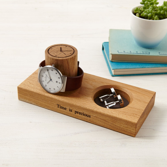Cufflink tray and watch stand with brown leather