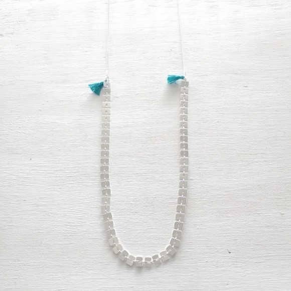 Bamboo Tassel Necklace Turquoise Silver