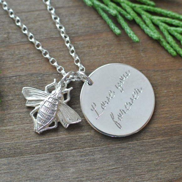 Reverse of silver necklace
