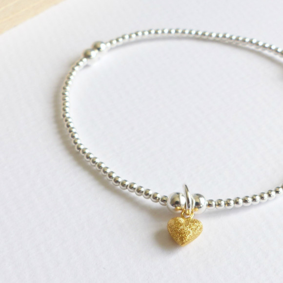 Sterling Silver beaded tiny gold frosted heart bracelet