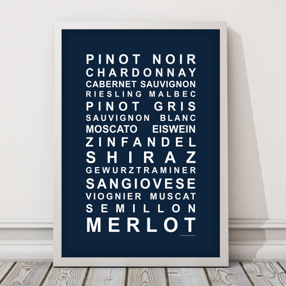 A Nice Drop of Wine Print in Navy, with optional Australian-made white timber frame