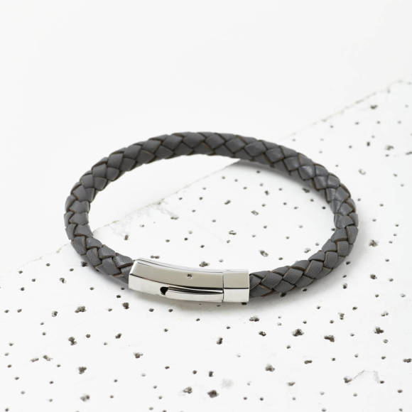 Mens plaited leather bracelet grey