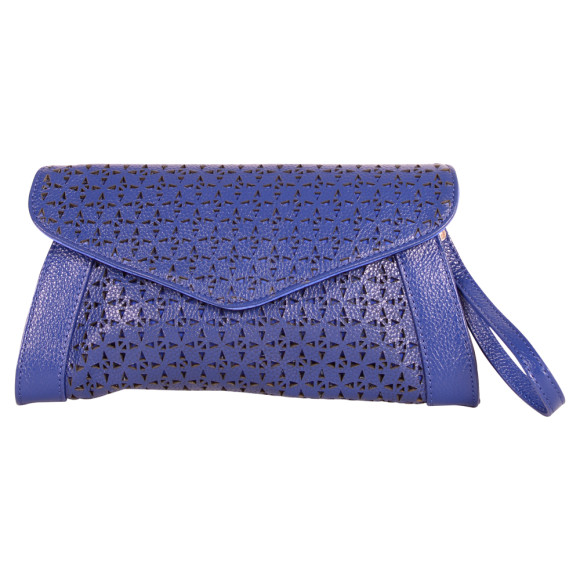 Blue Leather Clutch