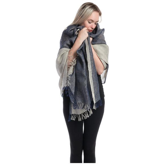 Linen shawl blue
