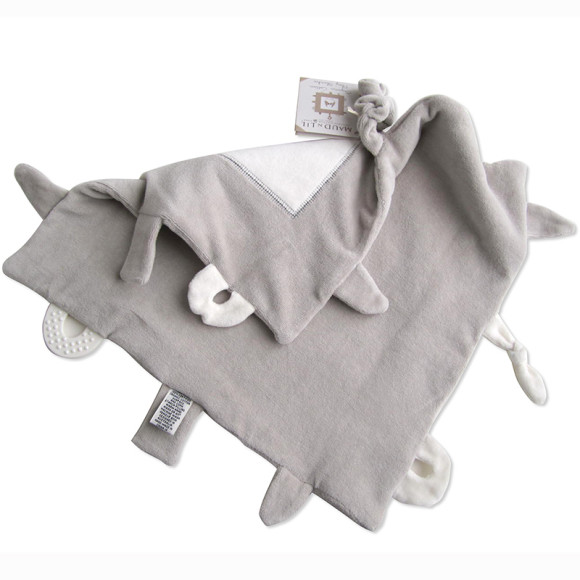 Grey Ears & Rose Bunny Baby Gift Play Blankie