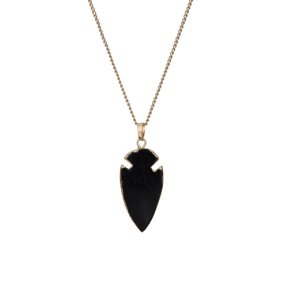 Arrow Black Jade Pendant Necklace