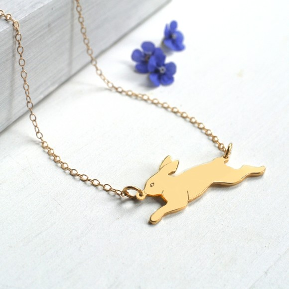 Personalised Gold Running Bunny Necklace