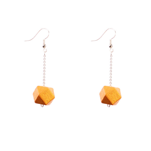 Gold wood earrings