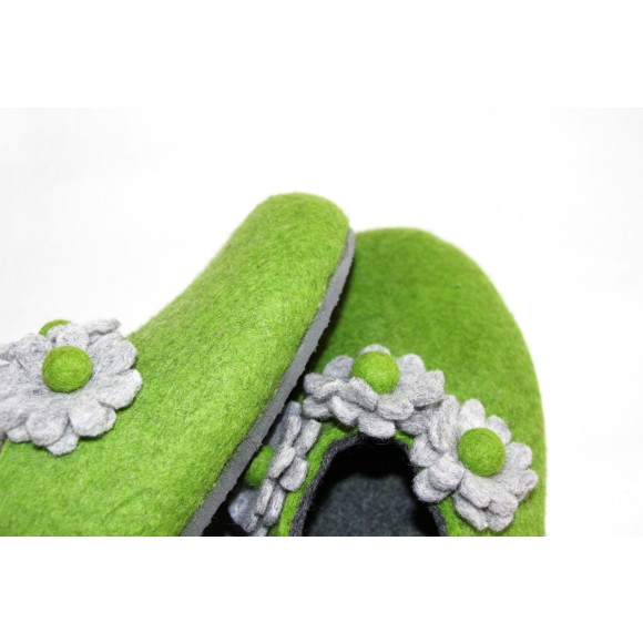 Mother's Day Special. Grey Sole Felted Wool Shoes Green Grey Floral. Women