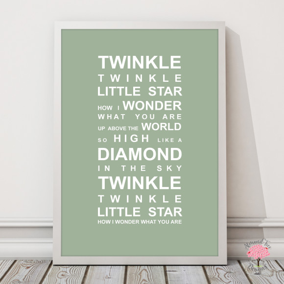 Twinkle Twinkle Print in Pistachio, with optional Australian-made white timber frame