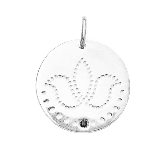 Lotus Charm in Sterling Silver with Black Spinel Stone