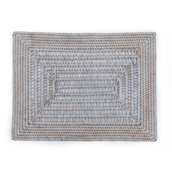 open woven rattan rectangular placemat