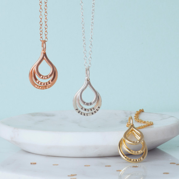 Pear Drop Family Names Necklace